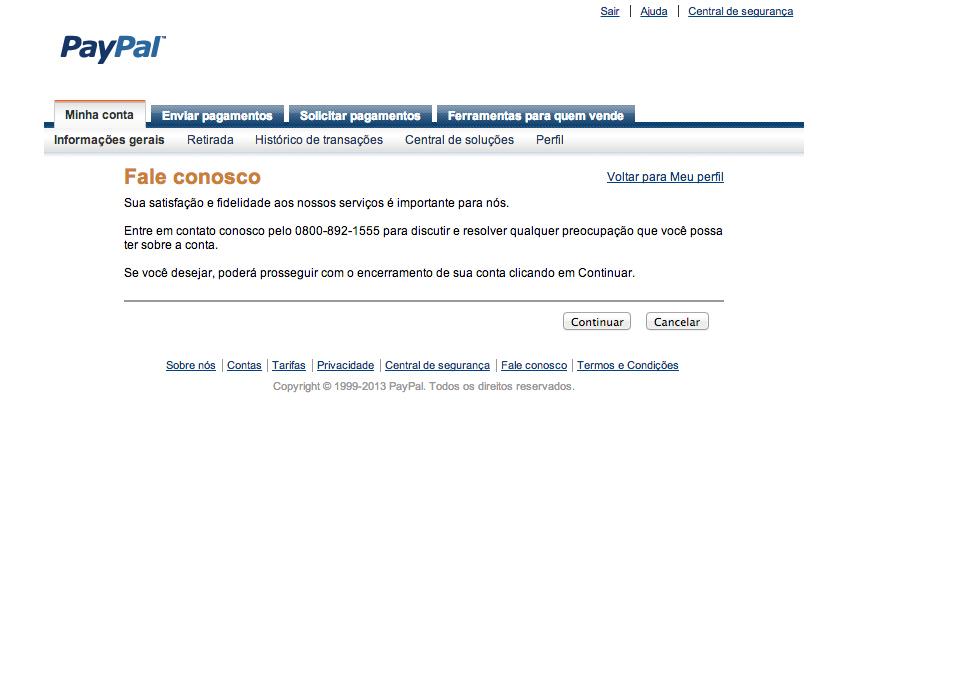 Cancelar conta paypal