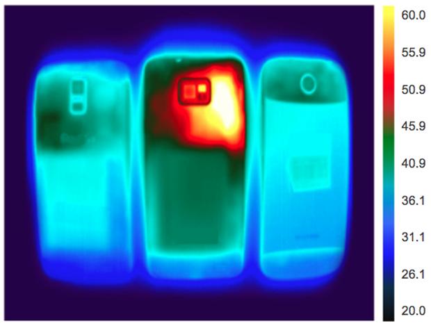 Imagem térmica dos smartphones (Foto: Divulgação)