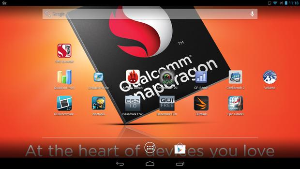 Aplicativos de benchmark usados no protótipo da Qualcomm (Foto: Divulgação)