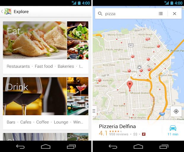 Nova interface do Google Maps para Android (Foto: Divulgação)