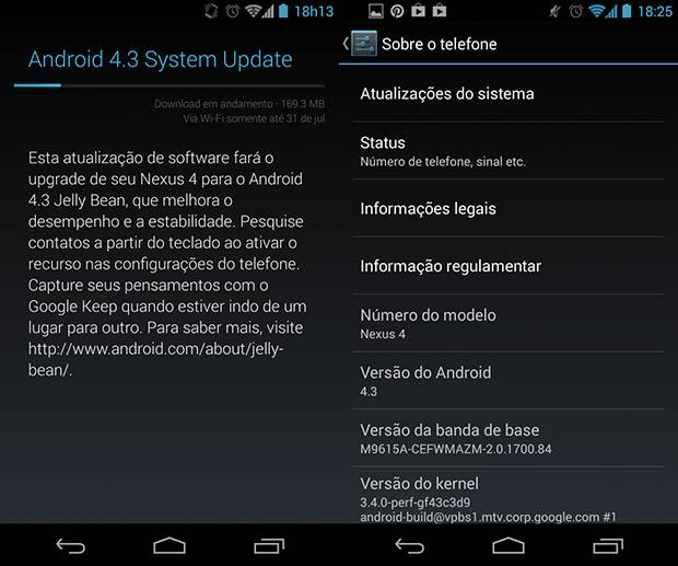 Atualização de um Nexus 4 para o Android 4.3 (Foto: Rodrigo Bastos/TechTudo)