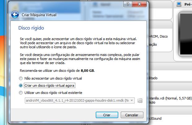 Optando por criar ou não um disco virtual (Foto: Reprodução/Edivaldo Brito)
