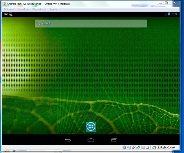 Android 4.3 sendo executado dentro do VirtualBox (Foto: Reprodução/Edivaldo Brito)