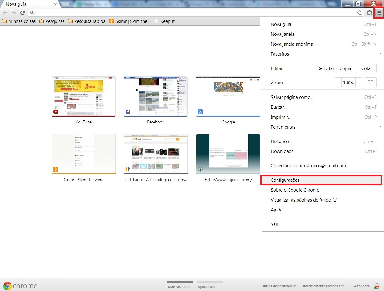 Faça o login de sua conta de Gmail e acesse as configurações de seu Google Chrome  (Foto: Reprodução/ Daniel Ribeiro)
