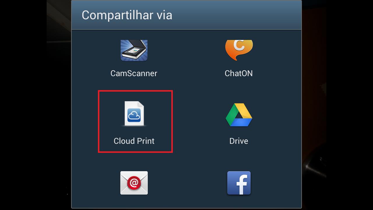 Ou escolhe o app Cloud Print como forma de compartilhamento do arquivo que deseja imprimir (Foto: Reprodução/ Daniel Ribeiro)