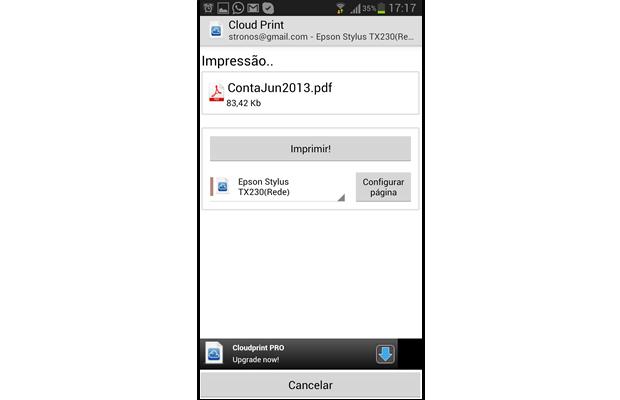 """No aplicativo, configure a página e pressione a tecla """"Imprimir"""" (Foto: Reprodução/ Daniel Ribeiro)"""