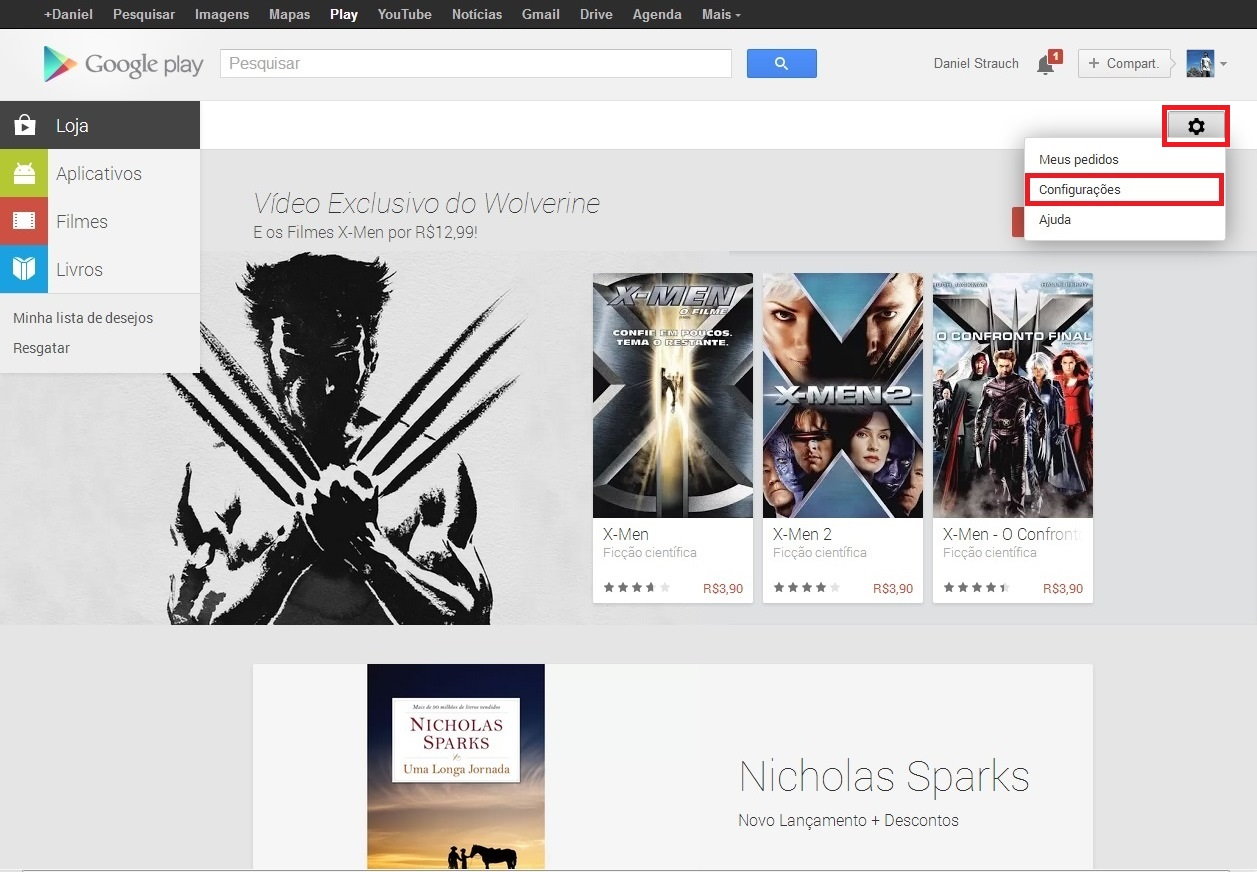 """Faça seu login o site da Play Store, clique no ícone de pequena engrenagem e selecione """"Configurações"""" (Foto: Reprodução/ Daniel Ribeiro)"""