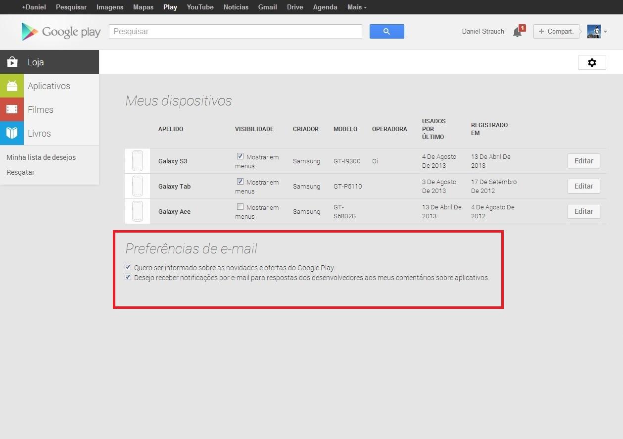 Também é possível configurar o recebimento de notificações da loja nas opções em