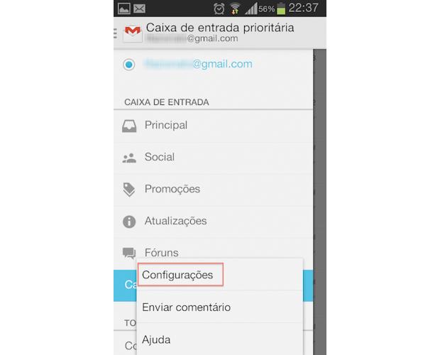 Acesso ao menu de configurações do aplicativo do Gmail para Android (Foto: Reprodução/Thiago Bittencourt)