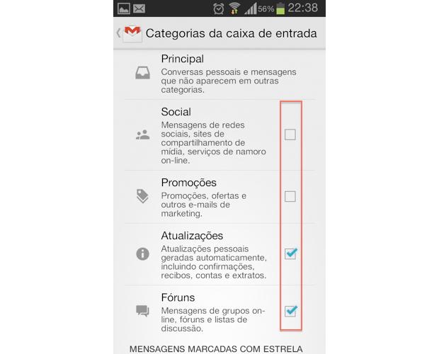 Página para seleção das categorias do Gmail a serem exibidas na caixa de entrada (Foto: Reprodução/Thiago Bittencourt)