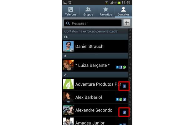 Quando a  agenda não estiver configurada, os contatos de Facebook sem associação serão exibidos com somente o ícone da rede social no seu lado direito (Foto: Reprodução/ Daniel Ribeiro)