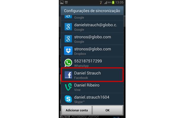 Encontre e selecione o vínculo com a rede social (Foto: Reprodução/ Daniel Ribeiro)