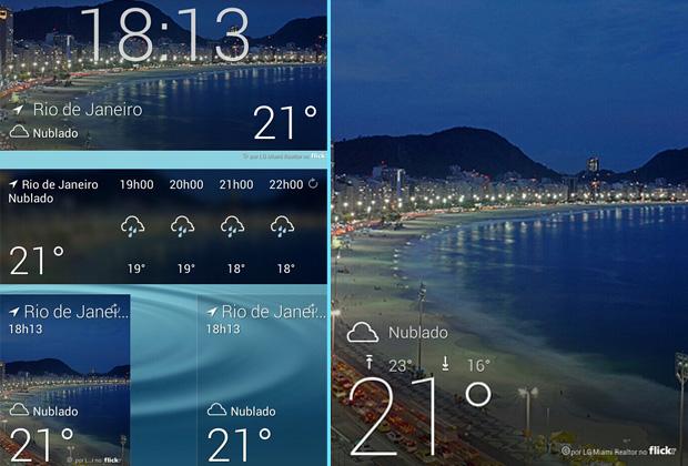 Yahoo! Tempo para Android tem como diferencial os widgets; tela inicial mostra foto tirada por usuários (Foto: Arte / TechTudo)