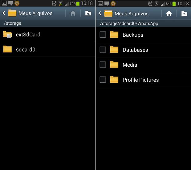 Backup pode estar no cartão microSD ou na memória do telefone (Foto: Reprodução Thiago Barros)