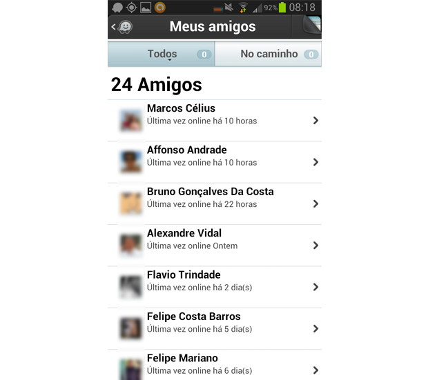 Interaja com os amigos do Facebook no Waze (Foto: Reprodução/Aline Jesus)
