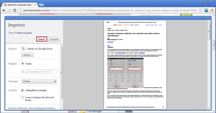 como salvar  em pdf
