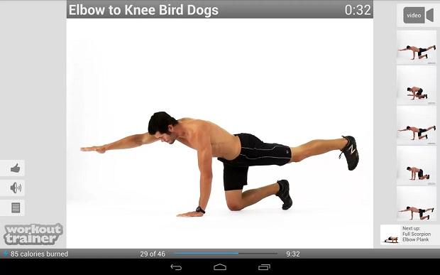 Workout Trainer disponibiliza uma série de exercícios para o usuário (Foto: Divulgação)
