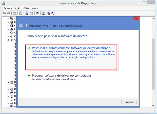O Windows irá pesquisar automaticamente novos drivers para seu controlador USB (Foto: Reprodução/Paulo Alves)