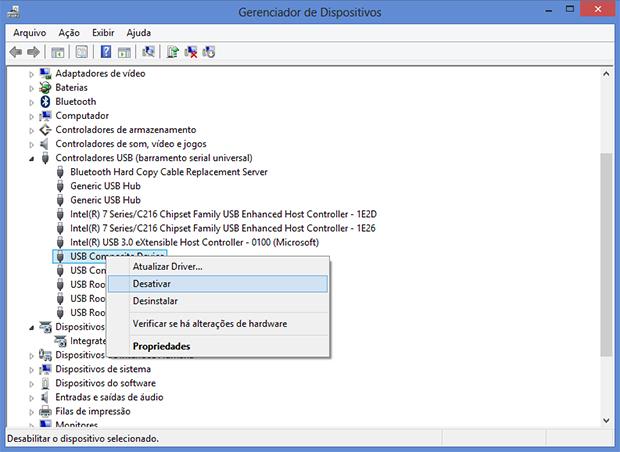 Primeira opção é desativar o controlador USB (Foto: Reprodução/Paulo Alves)