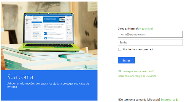 Use conta Microsoft para logar (Foto: Reproudção/Thiago Barros)