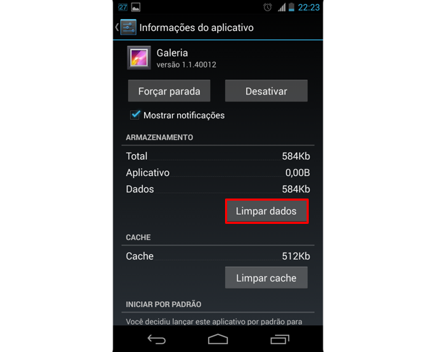 Ao acessar as informações do app Galeria, toque em
