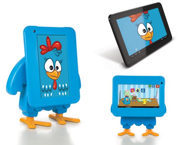 Tablet da Galinha Pintadinha, da TecToy, tem Android 4.1 e tela de sete polegadas (Foto: Arte/Divulgação)