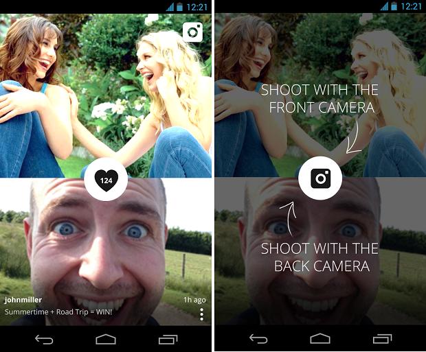 Camcam é um aplicativo que faz fotos com a câmera frontal e traseira na mesma tela (Foto: Reprodução)