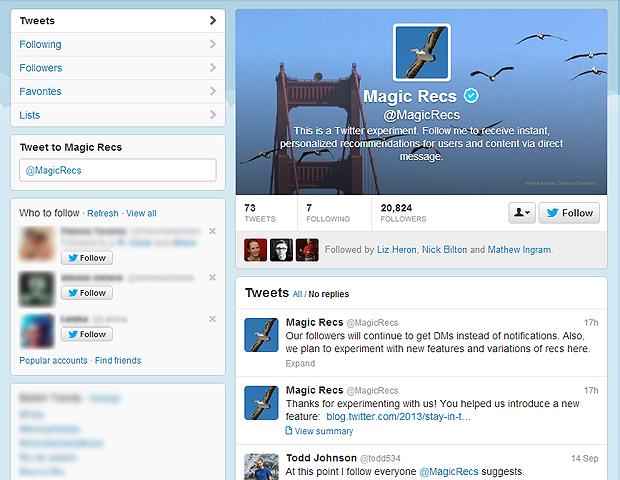 O perfil MagicRecs (@MagicRecs) é parte da estratégia do Twitter para agregar valor ao conteúdo do microblog (Foto: Reprodução/Twitter)