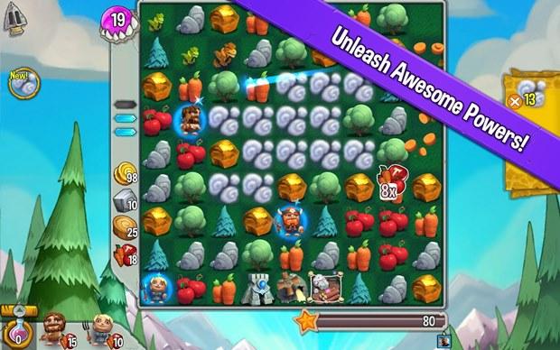 Cavemania lembra Candy Crush, mas tem combates em turnos no estilo RPG (Foto: Divulgação)