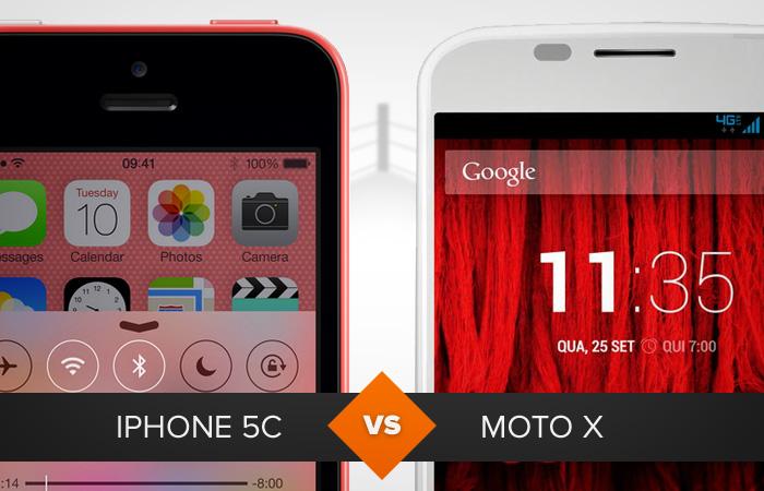 iPhone 5C e Moto X são rivais no mercado dos coloridos (Foto: Arte / TechTudo)