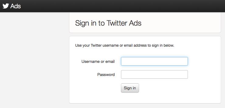 Acesse a plataforma Twitter Ads e faça login com suas credenciais (Foto: Reprodução/Twitter)
