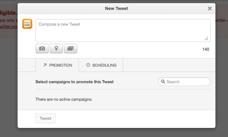 Criando um tuíte agendado na plataforma Twitter Ads (Foto: Reprodução/Twitter)
