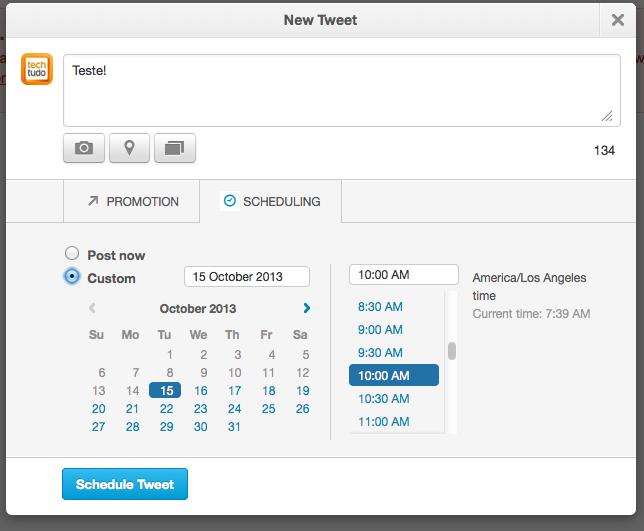 Em Shedulling, é possível escolher a data e hora exata para cada tuíte (Foto: Reprodução/Twitter)