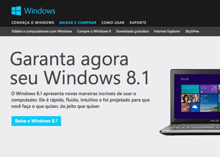 Site da Microsoft mostra update para download do Windows 8.1  (Foto: Reprodução/Microsoft)
