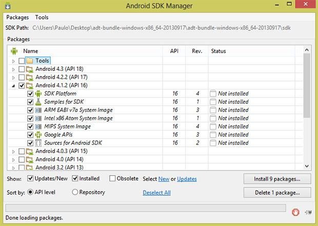 No SDK Manager, instale os pacotes correspondentes ao Android do seu smartphone (Foto: Reprodução)