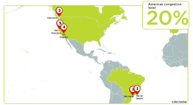 No ranking das cidades mais congestionadas das Américas, o Brasil ocupa o primeiro e o segundo lugar (Foto: Reprodução)