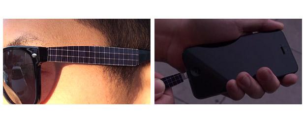 25992c1bb Conceito usa painel solar na haste de óculos RayBan para recarregar iPhone  (Foto: Montagem