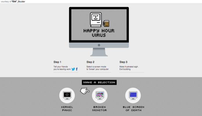Vírus do 'happy hour' simula problema no PC e libera funcionários mais cedo (Foto: Reprodução/Marvin Costa)