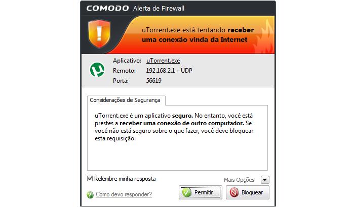 Firewall solicitando permissão para o uTorrent (Foto: Reprodução/TechTudo)