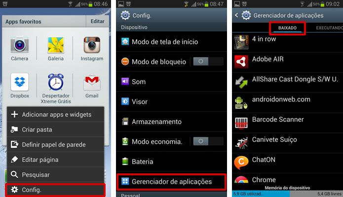 """Vá para o menu de configurações de seu Android, selecione """"Gerenciador de Aplicações"""" e clique em um dos apps na aba """"Baixados""""(Foto: Reprodução/Daniel Ribeiro)"""