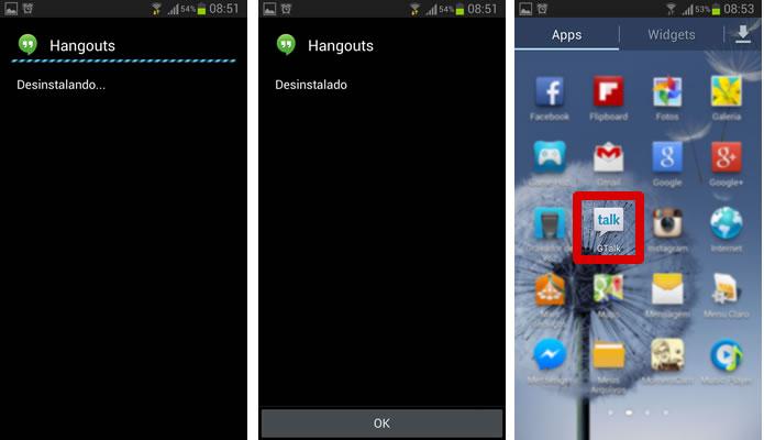 Após um rápido processo de desinstalação, os aplicativos voltaram a ter todas as características de sua versão original (Foto: Reprodução/Daniel Ribeiro)