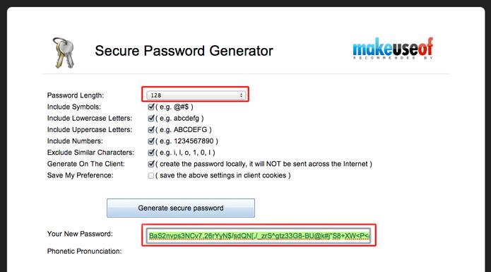 Gerando um password com o Passwords Generator (Foto: Reprodução/Marvin Costa)
