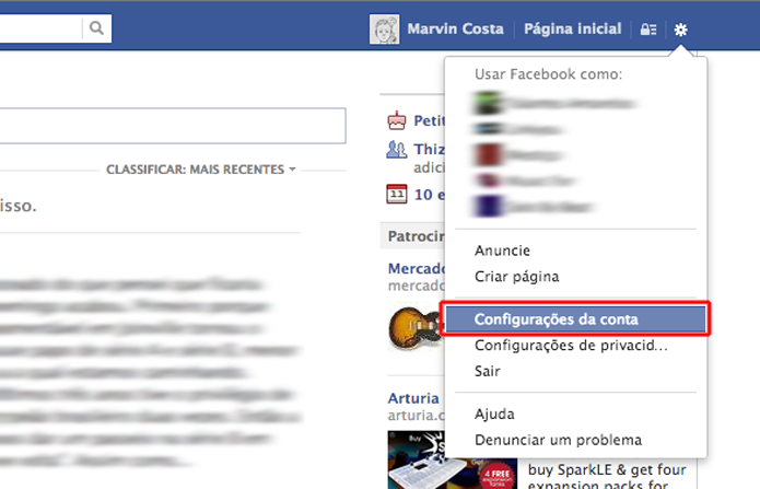 Acessando as configurações da conta no Facebook (Foto: Reprodução/Marvin Costa)