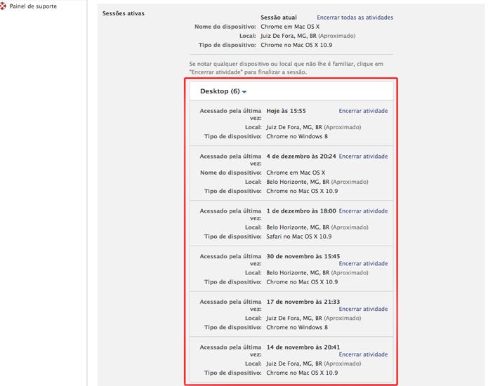 Visualizando todas as sessão abertas em sua conta no Facebook (Foto: Reprodução/Marvin Costa)