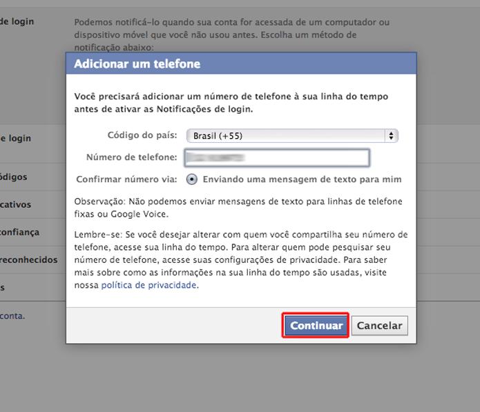 Inserindo o código de segurança enviado via SMS para vincular um celular a notificação de login do Facebook (Foto: Reprodução/Marvin Costa)