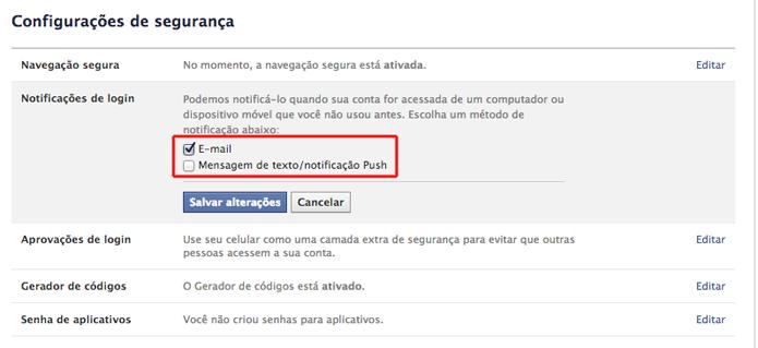 Escolhendo uma opção de notificação de login no Facebook (Foto: Reprodução/Marvin Costa)
