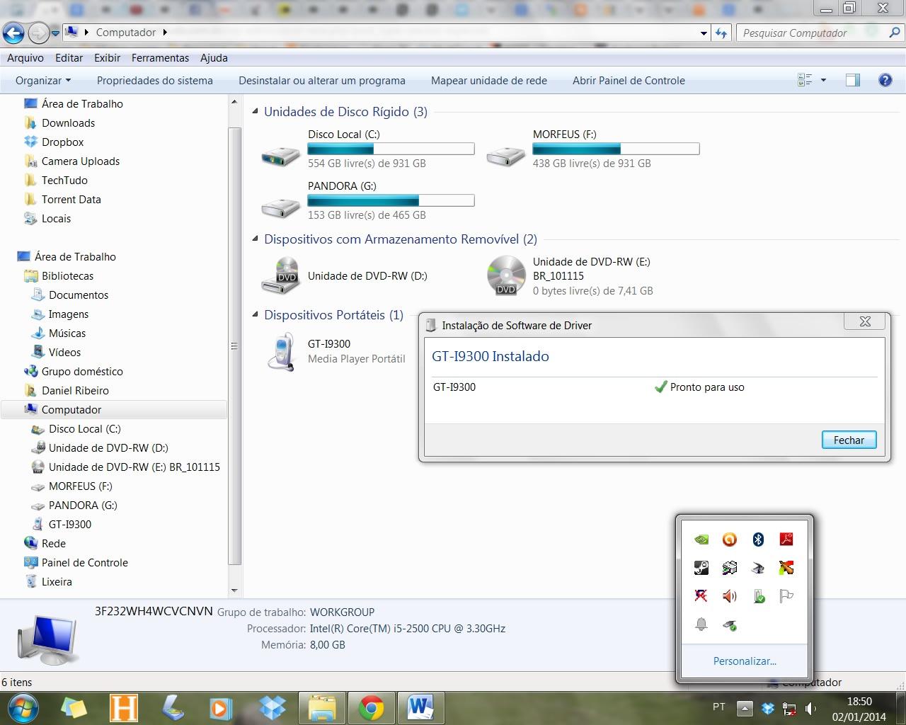 USB é a maneira mais comum de transferir arquivos