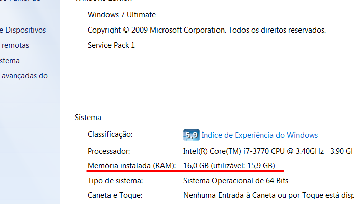 Em Propriedades, no Meu Computador, é possível conferir a quantidade de memória RAM.