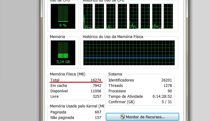 Também é possível conferir a quantidade de memória RAM no Gerenciador de Tarefas (