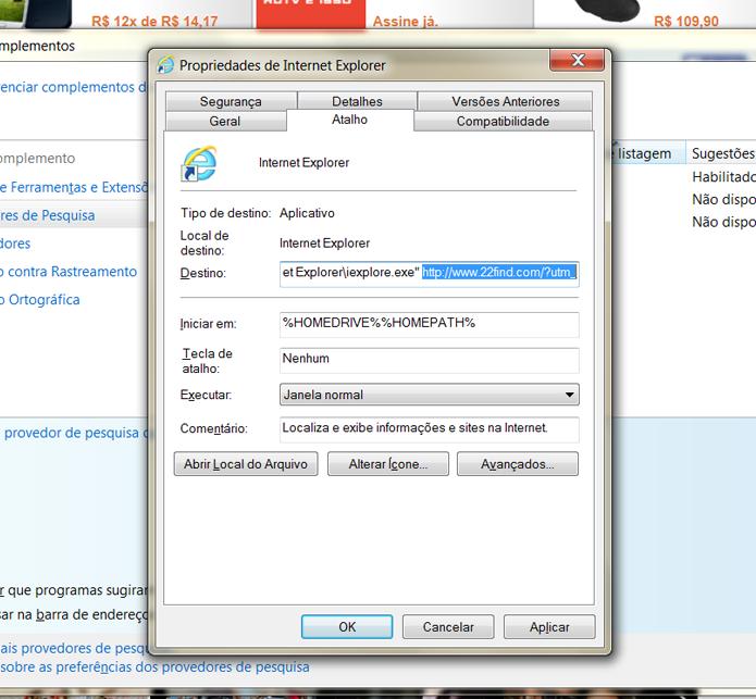 Remova o endereço eletrônico do 22Find da seção Destino, no atalho do Internet Explorer
